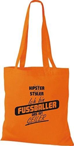 Shirtstown Stoffbeutel du bist hipster du bist styler ich bin Fussballer das ist geiler orange