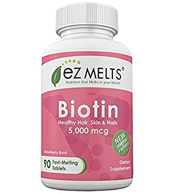 EZ Melts Biotin Fast Melting Tablets 5000 mcg Strawberry 90 Count from EZ Melts
