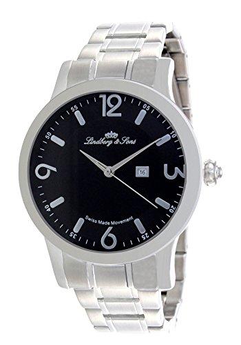 Lindberg & Sons - LSSM201 - Montre Homme - Cadran Noir - Bracelet Argent - Quartz Analogique - Origine Suisse
