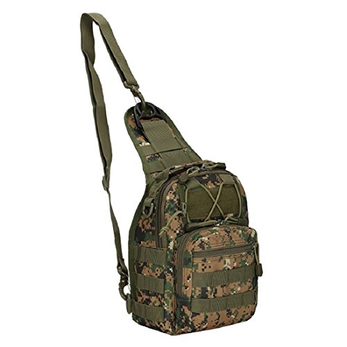 Originaltree da uomo militare petto borsa sportiva a spalla casual tela Satchel, Desert sand Jungle green