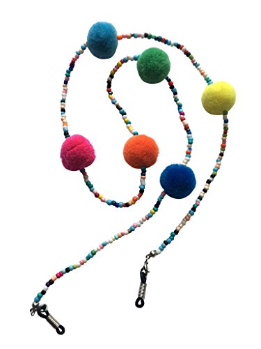 NEW Funky Multicoloured Beaded & Pom Pom Glasses Sunglasses Chain Strap Cord Holder Festival