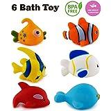 WISHKEY Chu Chu Colorful Floating Bath Toys for Baby Aquatic Fish Animals Set of 6 Non Toxic BPA Free