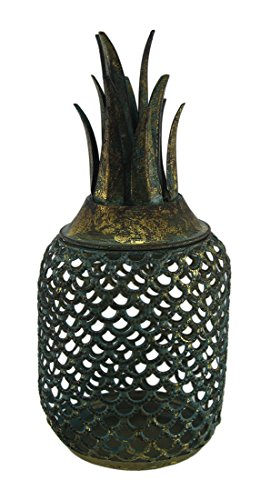 Zeckos Antik Gold Finish Metall Ananas Kerzenhalter Käfig (Ananas Hurricane)