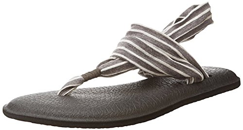 Sanuk Womens Yoga Sling 2 Flip-Flop Charcoal/Natural Stripes