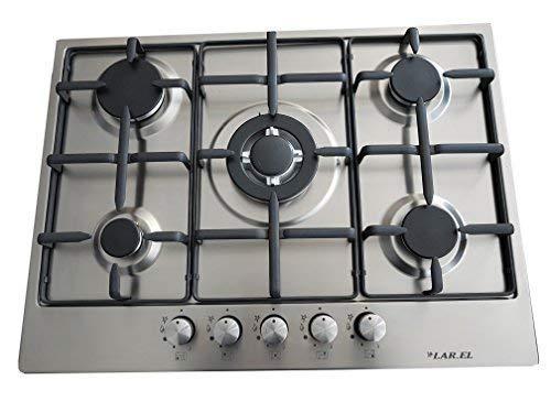 Larel - Placa de cocina empotrable con 5 fuegos de 70 cm...