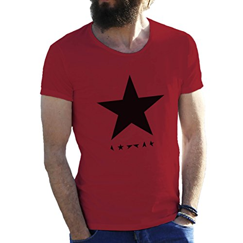 Black Star David Bowie Herren T-Shirt Wein rot