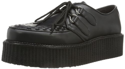 Demonia CREEPER-402, Scarpe stringate uomo Nero (Blk Leather)
