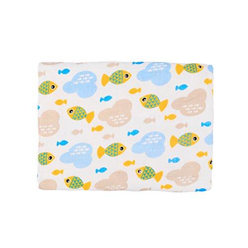 Doux et confortable couverture de bébé de coton de mousseline de couche d'une couche, vêtements de Burpy pour le sommeil profond, couverture de poussette de 100x140cm pour un nouveau-né unisexe(Poisson)