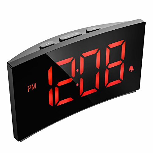"""Digitaler Wecker, PICTEK Digitaluhr, alarm clock, 5""""LED-Display, Randlos Kurve, Dimmer, Snooze, 12/24 Stundenanzeige, 3 Alarmtöne mit 2 einstellbare Lautstärke, Naturgeräusche, USB-Stromanschluss(ohne Adapter) - Orange"""