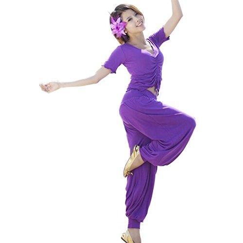 Byjia Bauchtanz Yoga Set Seide Merzerisierte Baumwolle Hosen Outfit Frauen Praxis Moderne Kostüm Professionelle Performance Match Kleidung Deep Purple 2 (Tanz Kostüme Fringe Hose)