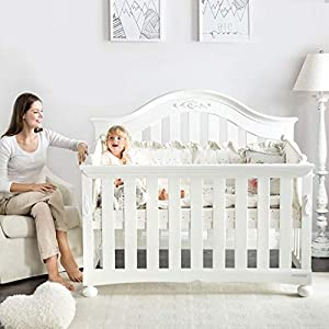 DUWEN-Cot bed Solid Wood Multifunction Baby Cot European Style Cot Bed Toddler Bed Splicing Bed   13