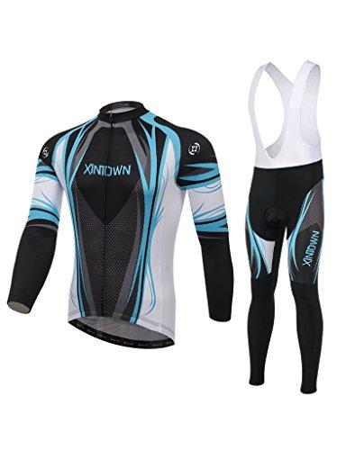 iCreat Langeärmelige Rad-Trikots Radbekleidung mit Fahrradhose Trägerhose Damen / Herren, COOLMAX Silikonmatte (Rad-trikots Spezielle)