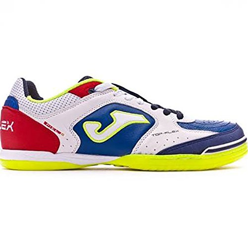 Joma TOP FLEX 716 Indoor - Scarpe Calcetto Uomo - Men's Futsal Shoes - TOPW.716.IN (39, bianco-royal-rosso)