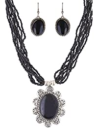 Arittra Black Silver Pendant Necklace Set Matching Earrings Black Beads For Women