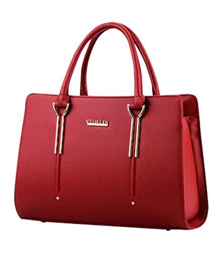 MissFox Borsa Shopping Bag Elegante Donna Vari Colori Vino Rosso