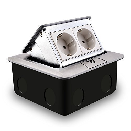 Bodensteckdose SIMBR 2 Fach Versenkbare Einbausteckdose in Metallehäuse für Küche, Büro, Zuhause( 1-3 Fach zur Wahl )