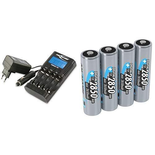 ANSMANN Powerline 4 Pro Akkuladegerät / Multifunktionale Akku Ladestation für 1-4 NiMH/NiCd-AA oder AAA & ANSMANN Akku AA Mignon Typ 2850mAh 1,2V - aufladbare AA Batterien- 4 Stück