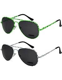2er Pack X-CRUZE® Klassische Pilotenbrille Fliegerbrille Spiegelbrille Nerdbrille Nerd Vintage Retro Sonnenbrille Brille