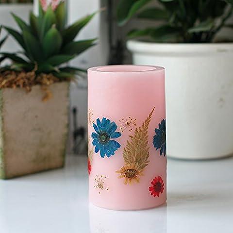 Led Pillar Bougie sans flammes, Fleur à la main et séchée, avec 4 & 8 heures de temporisateur, 2x C batteries, fleur en relief, pour cadeaux & décorations, rose, 3x5 pouces ( 7,6 cm x 12,7