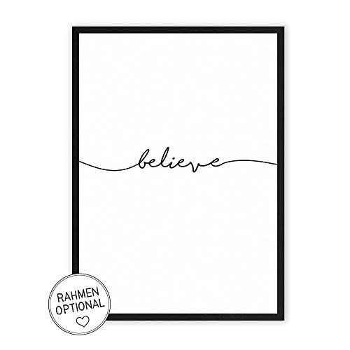 believe - Kunstdruck auf wunderbarem Hahnemühle Papier DIN A4 -ohne Rahmen- schwarz-weißes Bild Poster zur Deko im Büro/Wohnung / als Geschenk Mitbringsel zum Geburtstag etc.