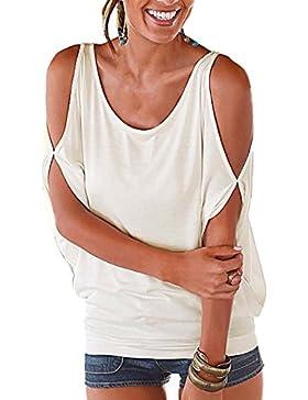 Landove Camisetas Sin Tirantes Mujer Básica Tops Manga Corta T Shirt Verano Elegante Moda Blusa Casual Pullover...