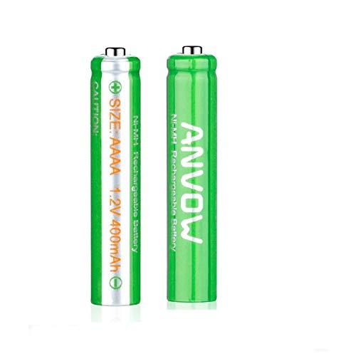 Batteries Ni-MH AAAA rechargeables pour stylets et stylos numériques, 1,2 V et 400 mAh - Avec boîte de rangement - 2 batteries