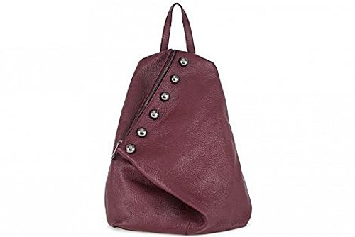 ZETA SHOES Zaino in vera pelle made in italy borchiato borsa MainApps Bordeaux