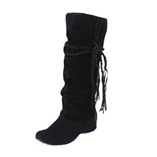 Stiefel Damen, DoraMe Frauen Troddel Stiefel Runde Kopf hohe Stiefel Schuhe Motorrad Schuhe Heighten Platforms Thigh High Tessals Boots (38, Schwarz)