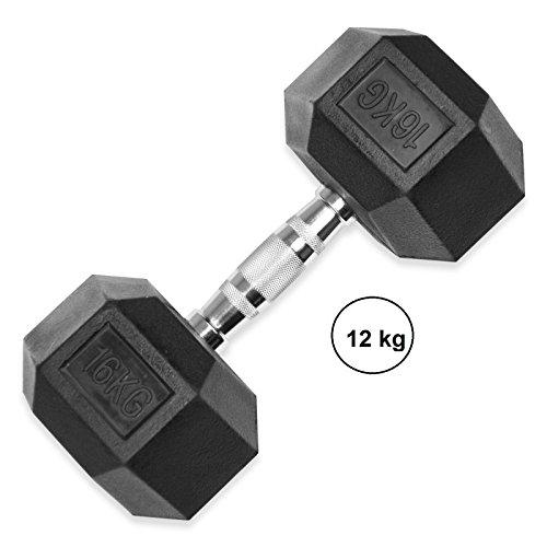 Liveup sports - hex dumbbell 12kg manubrio esagonale 1pz ergo peso palestra ferro rivestito gomma