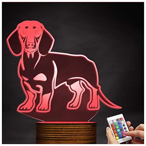 Chengyd LED-Lampe Dackel-Nachtlicht der optischen Täuschung 3D, USB-angetriebene Fernbedienung ändert die Farbe des Lichtes, Kinder (Star Wars Dackel)