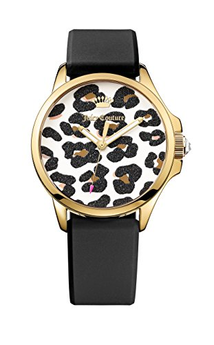 Juicy Couture Jetsetter Women's Quartz Watch with White Dial Analogue Display and Black Silicone Strap 1901342