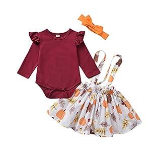 catmoew Mädchen Sets (0-24 M) Säuglingskind Kind Halloween Langärmlige Strampler + Kleid mit Kürbisriemen + Haarband Dreiteiliger Baby kinderkleidung
