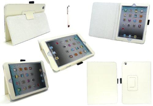 Emartbuy® Apple Ipad Mini 4 Tablet Weiß Eingabestift + Weiß PU Leder Multifunktions / Multi Angle Wallet / Abdeckung / Stand / Typing Fall