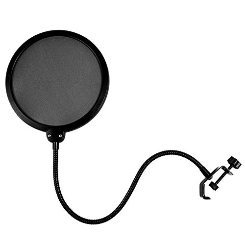 Xinlie Filtro Anti Pop di Microfono Braccetto Gooseneck Serratura Montaggio,Doppio Strato Elastico, per Microfoni da Studio di Registrazione Blue Yeti e non solo, Nero