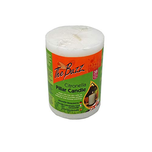 The Buzz Citronella Pillar Candle (38 Hours Burn Time for Outdoor, Garden Use)