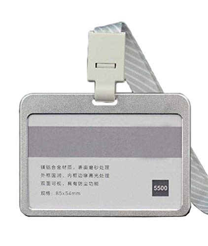 Aluminiumlegierung Horizontal ID Card Badge Holder mit Halsband 3PCS, ()