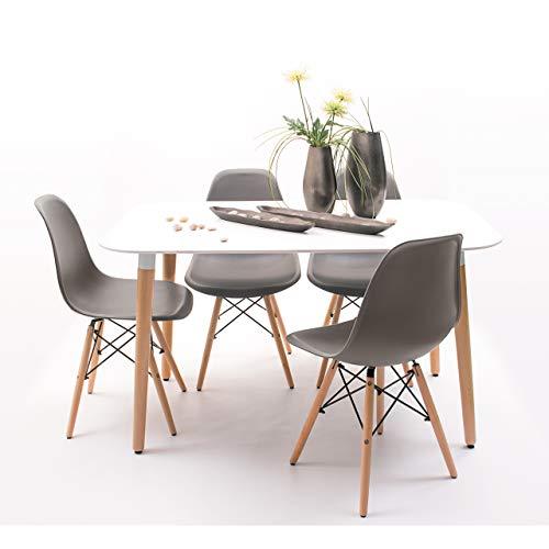 Conjunto de Comedor de diseño nórdico NORDIK-MAX con Mesa lacada Blanca de 130x80 cm y 4 sillas (Gris Oscuro)