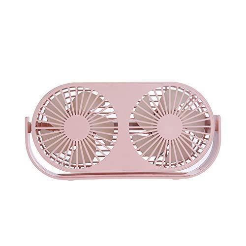 4,6-Zoll-Mini-USB-Tischventilator, 3 Geschwindigkeiten, Doppellüfter, zwei Betriebsarten, Bullt-in-Aromatherapie-Tische, integrierter 2000-mAh-Akku, perfekter Ventilator für Büro und Haushalt,Pink -