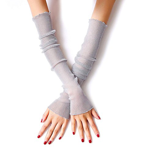 V-Schutz Kühlarm Sleeves Lange Spitze-Blumen Half Finger Lichtschutzarm Sleeves im Freien Lauf Golf-Handschuhe grau ()