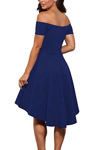 GERMMI Damen Kleid Abendkleid Schulterfreies Cocktailkleid Jerseykleid Skaterkleid Knielang Elegant Festlich Asymmetrisches Partykleid