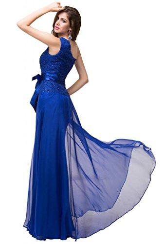 Sunvary uno Chiffon spalla Alencon, abiti da damigella d'onore Gowns Pageant fascia Blu