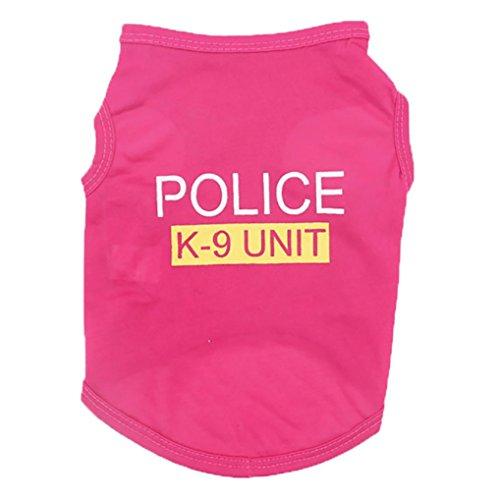 wakeu Pet Shirt Klein Hund Katze Kleidung Puppy Police K-9Unit Muster Weste T-Shirt Pet Sommer Apparel, Rose, ()