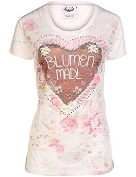 Hangowear Damen Trachten T-Shirt Blumen MADL, Beige,