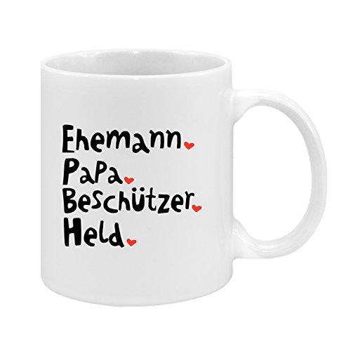 Ehemann. Papa. Beschützer. Held - hochwertiger Keramik-Kaffeebecher - Cups by t? - Kaffeetasse - Spruchtasse - Tasse mit Spruch - Geschenk