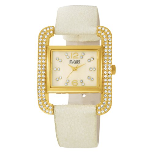 badgley-mischka-womens-ba1082imiv-swarovski-crystal-accented-gold-tone-ivory-stingray-strap-watch