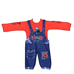 ahhaaaas Baby Boys Denim Dungaree with T shirt (RED179-1_Red_12 - 18 Months)
