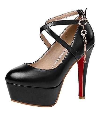 YE Damen Riemchen High Heels Pumps Plateau mit Roter Sohle und Schnalle 12cm Absatz Elegant Party Schuhe Größe
