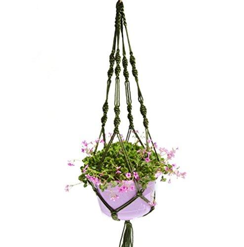 Katech corda da appendere porta vasi di piante in vaso da appendere alla parete tasca in rete regolabile a mano tessuto a rete fiore casa decorazione da parete per interno o esterno balcone