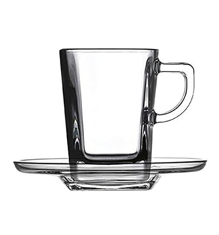 Pasabahce Carré Service Tasses à Café avec Assiettes, Verre, Transparent, 6 Pièces