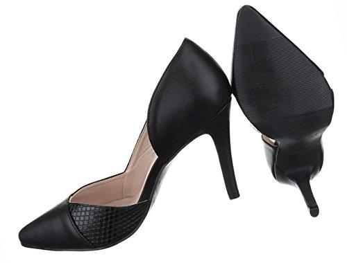 Damen Schuhe Pumps High Heels Stiletto Schwarz Schwarz